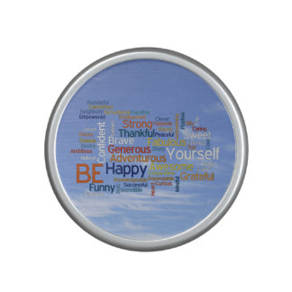 Be Happy Word Cloud in Blue Sky Inspire Speaker
