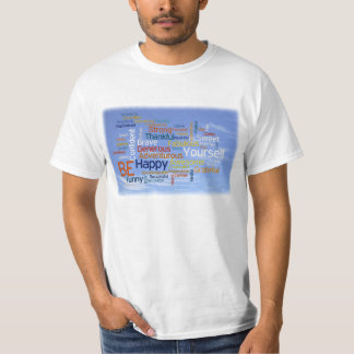 Be Happy Word Cloud in Blue Sky Inspire T-Shirt