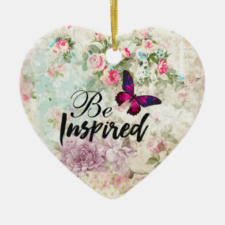 Be Inspired Quote & Pink Butterfly Shabby Collage Christmas Ornament