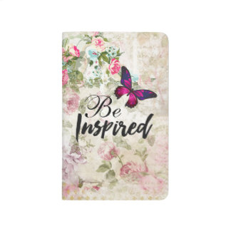 Be Inspired Quote & Pink Butterfly Vintage Collage Journal