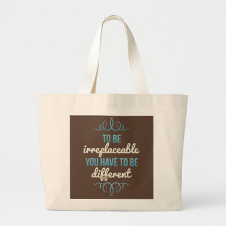 Be Irreplaceable Be Different Blue Brown Large Tote Bag