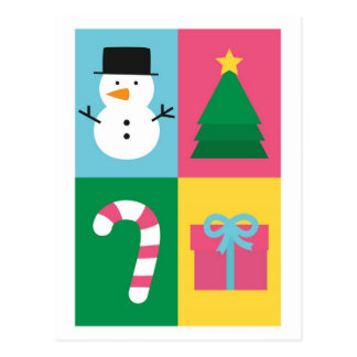 Be Jolly and Bright with Colourful Christmas Set Postcard