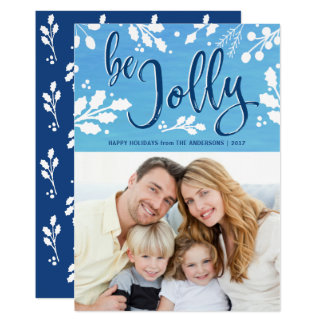 Be Jolly Watercolor Holly Christmas Holiday Photo Card