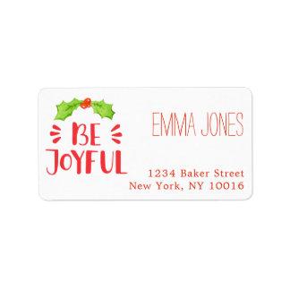 Be Joyful | Watercolor Holly Leaf Christmas Label