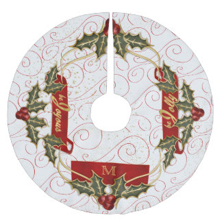 Be Joyous Be Jolly Monogrammed Holly Brushed Polyester Tree Skirt