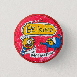 Be Kind blue dog and boy 3 Cm Round Badge