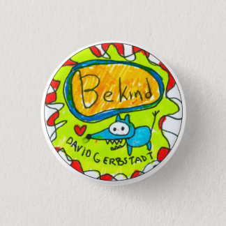 Be Kind blue dog with heart 3 Cm Round Badge