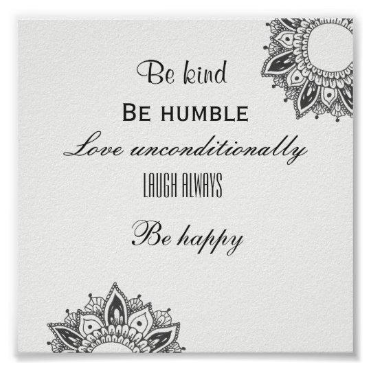 Be Kind Happy Inspirational Mandala Art Poster
