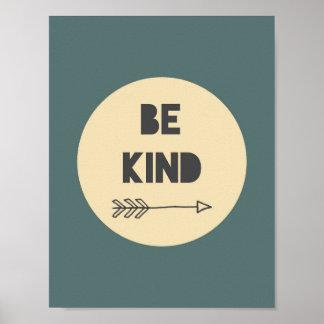 Be Kind Inspirational Art - Nursery Art Poster