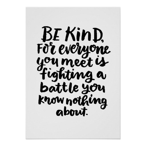 Be Kind Inspirational Art Quote in Black and