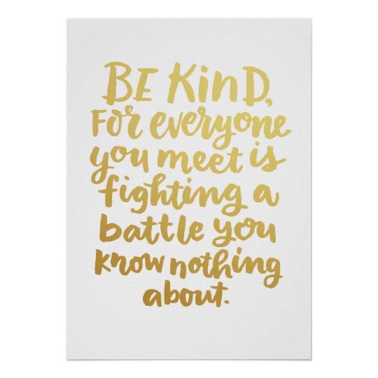 Be Kind Inspirational Art Quote in faux gold