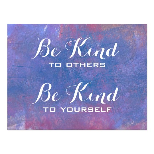 Be Kind Quote on Abstract Blue Background Postcard