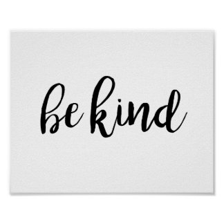 Be Kind Quote Typography Inspirational Kindness Poster