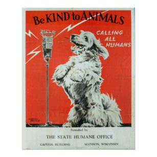 Be Kind To Animals 1930 Calling All Humans Vintage Poster Print Retro Style Art