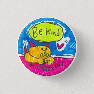 Be Kind yellow cat with heart 3 Cm Round Badge