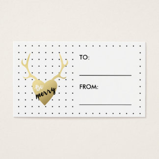 Be Merry Antlers | Holiday Gift Label Business Card