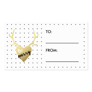 Be Merry Antlers | Holiday Gift Label Pack Of Standard Business Cards