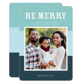 Be Merry | Blue Modern Colour Block Photo Holiday Card