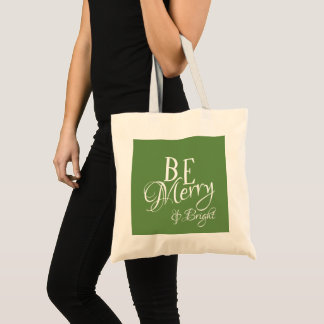 Be Merry & Bright Script - Green Color - Tote Bag