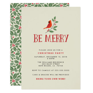 Be Merry Cardinal Christmas Party Card