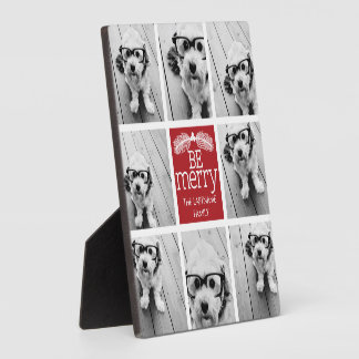 Be Merry Christmas Collage Photos with Red White Plaque
