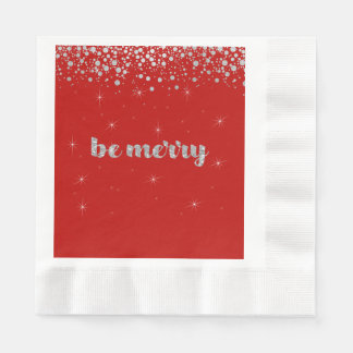 Be Merry, Christmas,  Silver Glitter, Sparkle Paper Napkin