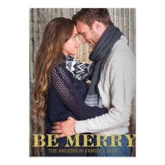Be merry gold glitter Christmas Card
