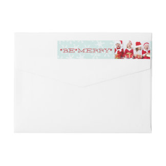 BE MERRY | HOLIDAY PHOTO RETURN ADDRESS WRAP AROUND LABEL