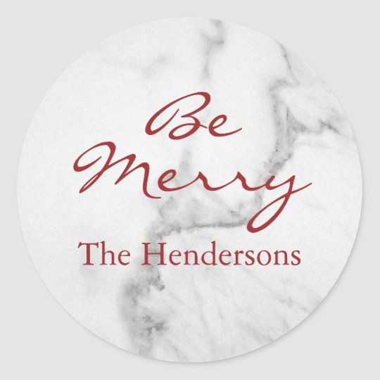 Be Merry Marble Holiday Sticker