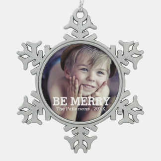 Be Merry Photo Christmas Family Ornament