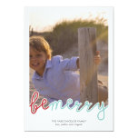 Be Merry Photo Christmas Holiday Wishes Red Blue 13 Cm X 18 Cm Invitation Card