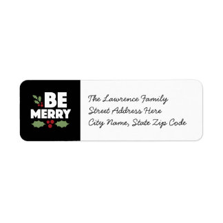 Be merry return address labels, Christmas card