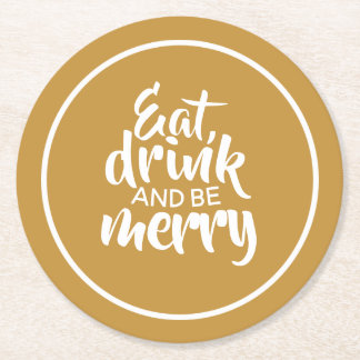 Be Merry Round Paper Coaster