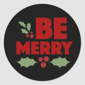 Be merry round sticker for holiday card, red!