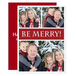 Be Merry Three Family Photos Christmas 13 Cm X 18 Cm Invitation Card