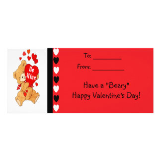 Be Mine Bear Kids Beary Happy Valentines Cards Rack Card Template