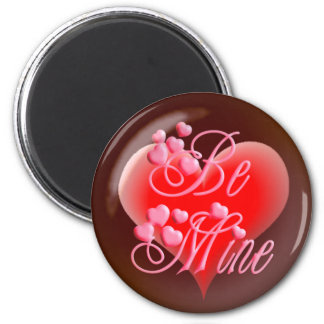 BE MINE BUBBLE HEART on black by SHARON SHARPE 6 Cm Round Magnet