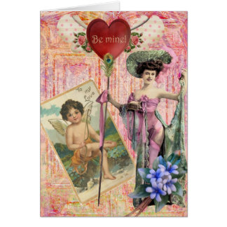 Be Mine Digital Collage Greeting Card