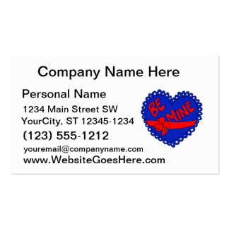 Be mine heart blue red love business card templates