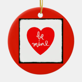 Be Mine Heart Round Ceramic Decoration