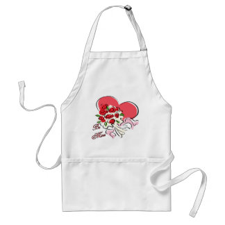 Be Mine Heart with Bouquet of Roses Apron