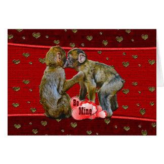 Be Mine Kissing Chimpanzees Greeting Card