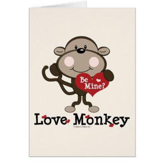 Be Mine Love Monkey Valentine Blank Greeting Card