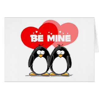 Be Mine Penguins Greeting Card