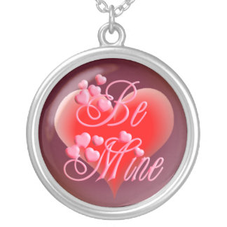 BE MINE PINK & RED HEARTS by SHARON SHARPE Round Pendant Necklace