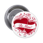 Be Mine! Red Hearts Buttons