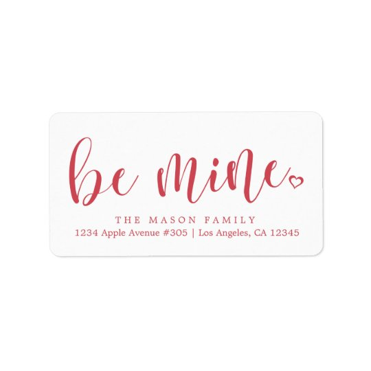 Be Mine Red Script - Custom Background Colour Address Label