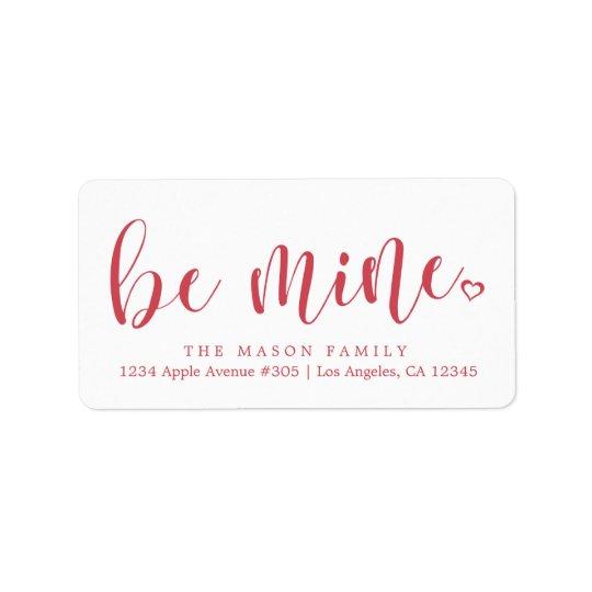 Be Mine Red Script - Custom Background Colour Label