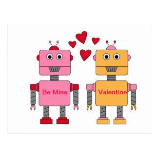 Be Mine Robots Post Card