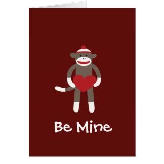 Be Mine Sock Monkey Happy Valentine's Day Card